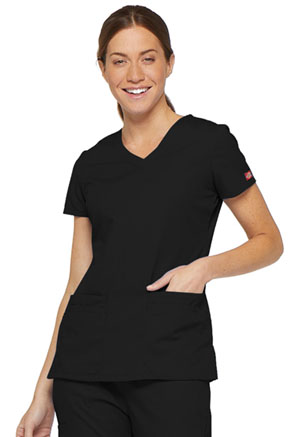Dickies EDS Signature V-Neck Top in Black (85906-BLWZ)