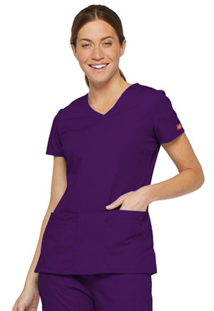 Dickies EDS Signature V-Neck Top in Eggplant (85906-EGWZ)