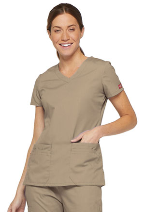 Dickies EDS Signature V-Neck Top in Dark Khaki (85906-KHIZ)