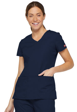 Dickies EDS Signature V-Neck Top in Navy (85906-NVWZ)
