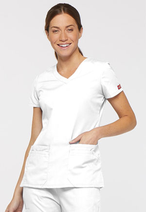 Dickies V-Neck Top White (85906-WHWZ)
