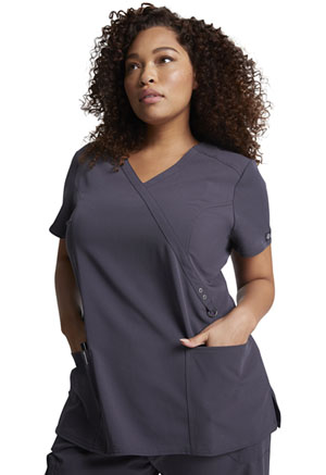 Dickies Xtreme Stretch Mock Wrap Top in Pewter (85956-PWT)