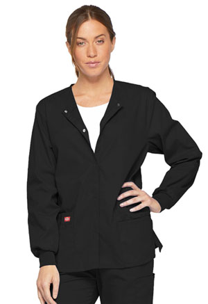 Dickies EDS Signature Snap Front Warm-Up Jacket in Black (86306-BLWZ)
