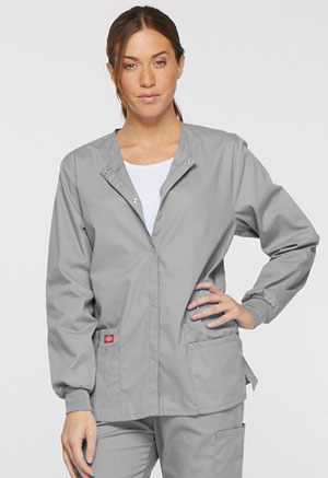 Dickies EDS Signature Snap Front Warm-Up Jacket in Grey (86306-GRWZ)