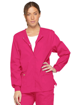 Dickies EDS Signature Snap Front Warm-Up Jacket in Hot Pink (86306-HPKZ)