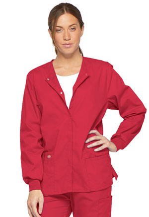 Dickies EDS Signature Women's Snap Front Warm-Up Jacket Red