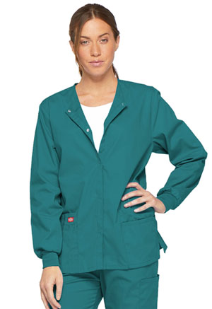 Dickies EDS Signature Snap Front Warm-Up Jacket in Teal Blue (86306-TLWZ)