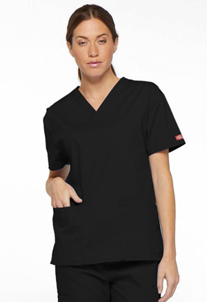 Dickies EDS Signature V-Neck Top in Black (86706-BLWZ)