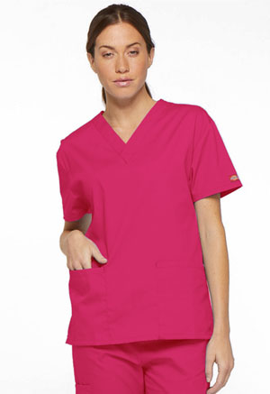 Dickies EDS Signature V-Neck Top in Hot Pink (86706-HPKZ)