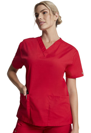 Dickies EDS Signature V-Neck Top in Red (86706-REWZ)