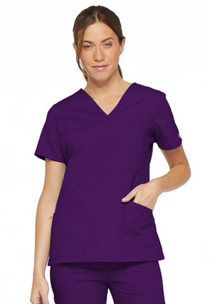 Dickies EDS Signature Mock Wrap Top in Eggplant (86806-EGWZ)