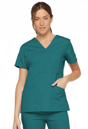 Dickies EDS Signature Mock Wrap Top in Teal Blue (86806-TLWZ)
