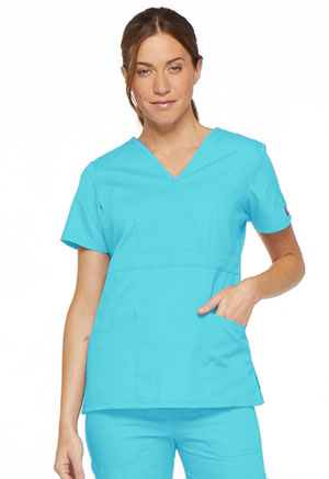 Dickies Mock Wrap Top Turquoise (86806-TQWZ)