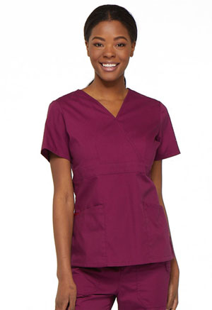 Dickies EDS Signature Mock Wrap Top in Wine (86806-WIWZ)