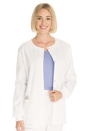 ScrubStar Women's Twill Snap Front Jacket White (90030-WMWM)