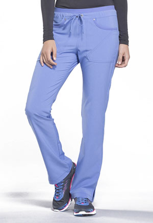 Cherokee iFlex Women's Mid Rise Tapered Leg Drawstring Pants Blue