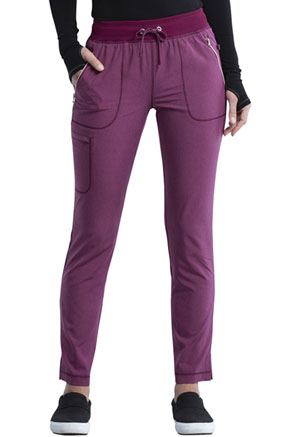 Cherokee Mid Rise Tapered Leg Drawstring Pant Heather Wine (CK135A-HTWI)