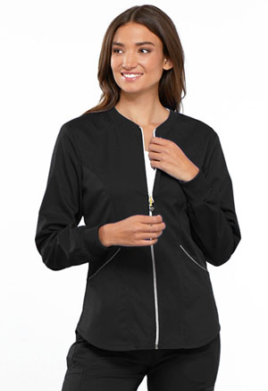 Cherokee Cherokee Luxe Sport Women's Zip Front Warm-up Jacket Black