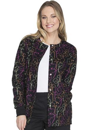 Cherokee Cherokee Prints Women's Snap Front Warm-up Jacket Floral In The Dark