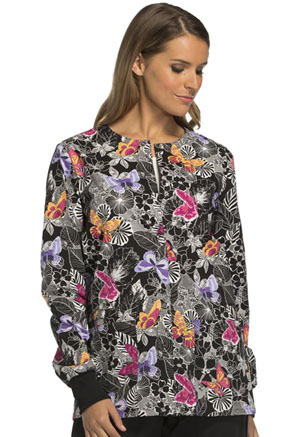 Cherokee Cherokee Prints Women's Snap Front Warm-up Jacket Flutter You Waiting For?