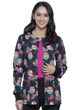 Cherokee Snap Front Warm-up Jacket Let's Give A Hoot (CK301-LEGV)