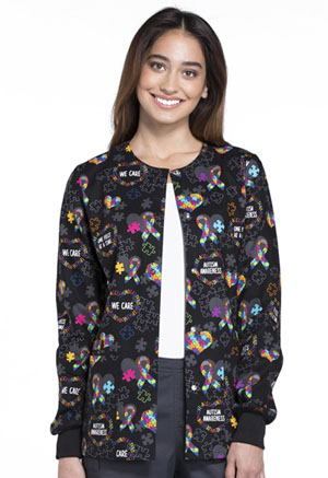 Cherokee Cherokee Prints Women's Snap Front Warm-up Jacket Love You To Pieces
