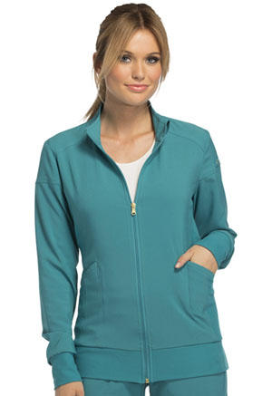 Zip Front Warm-Up Jacket in Teal Blue