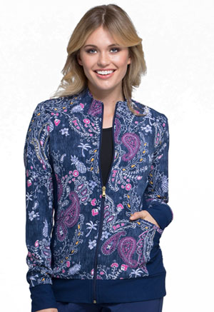 Cherokee Zip Front Knit Panel Jacket Pineapple Paisley (CK308-PAPP)