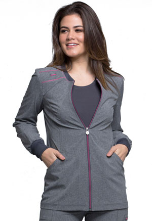 Cherokee Zip Front Warm-Up Jacket Heather Grey (CK340A-HTGR)