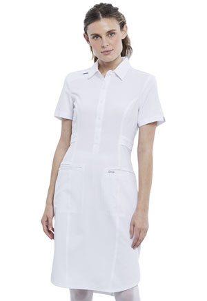 Cherokee 39 Button Front Dress White (CK510A-WTPS)