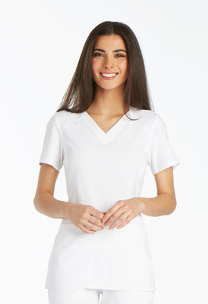 iFlex V-Neck Knit Panel Top (CK605-WHT) (CK605-WHT)