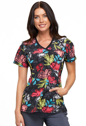 Cherokee Mock Wrap Top Flor-ever And Always (CK608-FLWS)