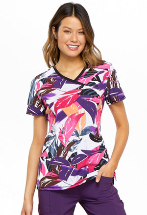 Cherokee Mock Wrap Top Leafy Layers (CK608-LFLY)