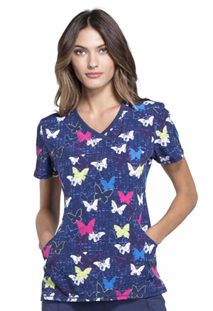 Infinity by Cherokee Women's Mock Wrap Top Wings In The Wild
