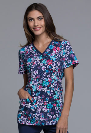 Cherokee Cherokee Prints Women's V-Neck Top Floral Blast