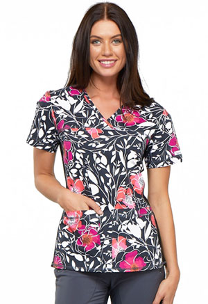 Cherokee Cherokee Flexibles Women's V-Neck Knit Panel Top Floral Mystique