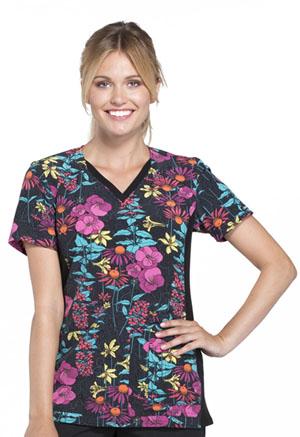 Cherokee Cherokee Flexibles Women's V-Neck Knit Panel Top Brand New Blooms