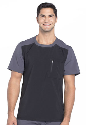 Cherokee Men's Colorblock Crew Neck Top Black (CK630A-BAPS)