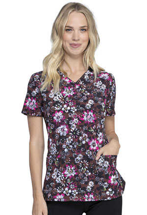 Cherokee V-Neck Print Top Night Bloom (CK634-NTBO)