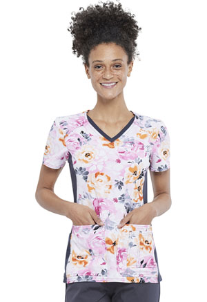Cherokee V-Neck Knit Panel Top Garden Glamour (CK636-GNGM)