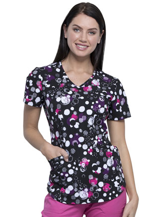 Cherokee V-Neck Top Dots Of Texture (CK637-DTTX)