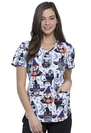 Cherokee V-Neck Top Spooky Halloween Friends (CK637-SPOH)