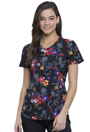 Cherokee V-Neck Top Stripe Hype Floral (CK637-STHY)
