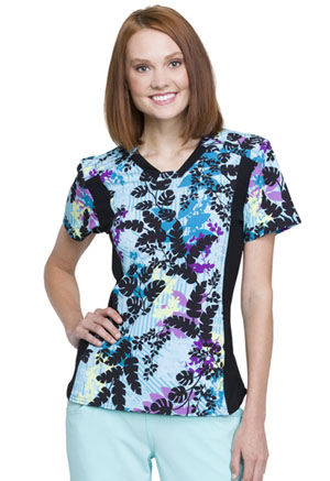 Cherokee V-Neck Knit Panel Top In Disb-leaf (CK641-INSB)