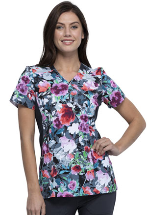 Cherokee Mock Wrap Knit Panel Top Brushing Bouquets (CK642-BGBQ)