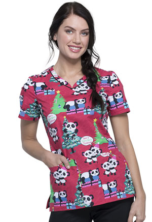 Cherokee V-Neck Top Beary Merry Pandas (CK646-BMPN)