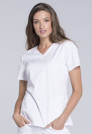 Cherokee V-Neck Top White (CK670-WHTV)
