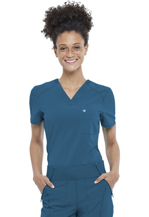 Cherokee Tuckable V-Neck Top Caribbean Blue (CK687A-CAPS)