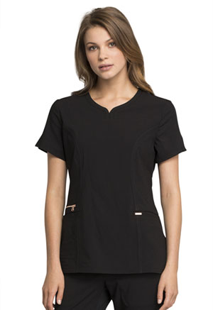 Cherokee Ribbed V-Neck Top Black (CK695-BLK)