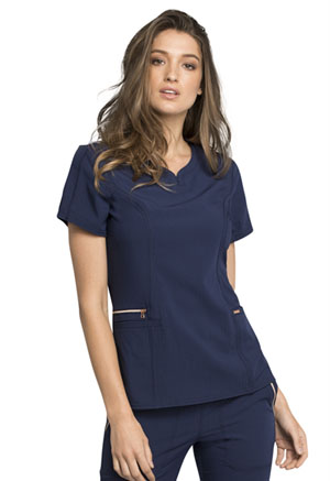 Cherokee Ribbed V-Neck Top Navy (CK695-NAV)